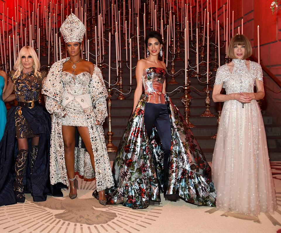 <p><strong>The theme: </strong>Heavenly Bodies: Fashion and the Catholic Imagination </p> <p><strong>The co-chairs: </strong>Donatella Versace, Rihanna, Amal Clooney and Anna Wintour </p> <p><strong>Honorary chairs: </strong>Christine and Stephen A. Schwarzman</p>