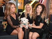 """LONDON, ENGLAND - SEPTEMBER 10: Millie Mackintosh, Guest and Ella Eyre attend the launch party for Professor Green's autobiography """"Lucky"""" sponsored by Crystal Head Vodka at Lights Of Soho on September 10, 2015 in London, England. (Photo by David M. Benett/Dave Benett/Getty Images)"""