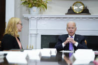 President Joe Biden speaks during a meeting with FEMA Administrator Deanne Criswell, left, and Homeland Security Adviser and Deputy National Security Adviser Elizabeth Sherwood-Randall, in the Roosevelt Room of the White House, Tuesday, June 22, 2021, in Washington. (AP Photo/Evan Vucci)