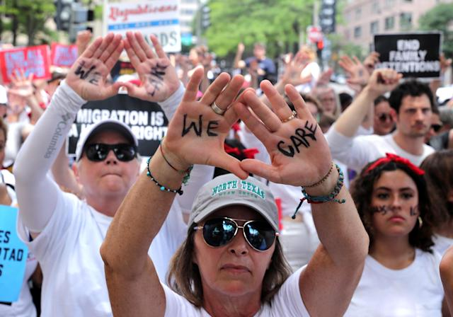 "<p>Immigration activists rally as part of a march calling for ""an end to family detention"" and in opposition to the immigration policies of the Trump administration, in Washington, D.C., June 28, 2018. (Photo: Jonathan Ernst/Reuters) </p>"