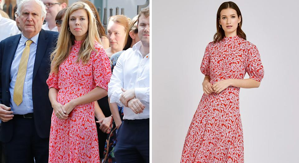 Carrie Symonds wore a Ghost dress for her Downing Street debut [Photo: Getty Images/ Ghost]