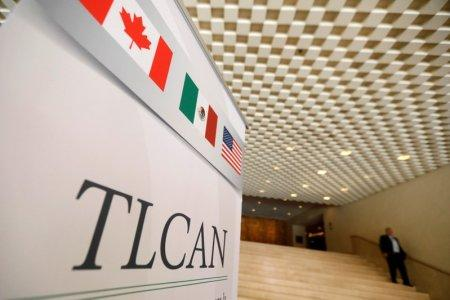 A NAFTA banner is seen during the fifth round of NAFTA talks involving the United States, Mexico and Canada, in Mexico City, Mexico, November 19, 2017. REUTERS/Edgard Garrido