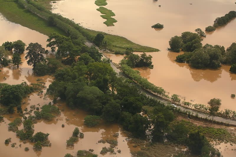FILE PHOTO: A general view shows an area flooded after the passage of Storm Eta, in Puerto Barrios