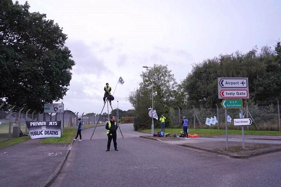 The protesters are highlighting the emissions caused by private jets (Extinction Rebellion/PA)