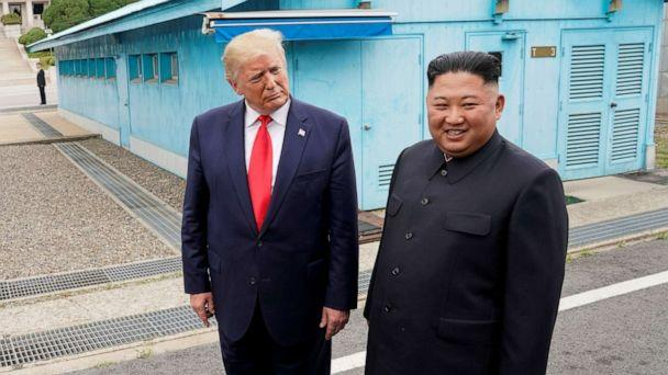 PHOTO: President Donald Trump meets with North Korean leader Kim Jong Un at the demilitarized zone separating the two Koreas, in Panmunjom, South Korea, June 30, 2019. (Kevin Lamarque/Reuters, FILE)