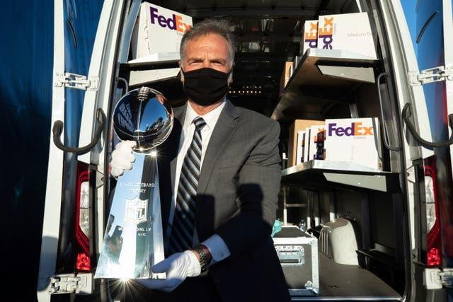 The Vince Lombardi Trophy has arrived in Tampa Bay (Omar Vega/AP for FedEx)