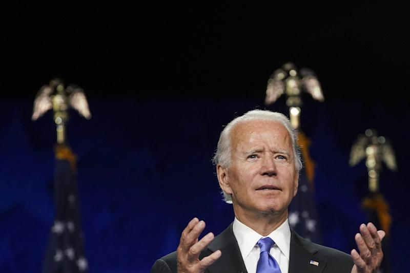 Former Vice President Joe Biden, Democratic presidential nominee, speaks during the Democratic National Convention at the Chase Center in Wilmington, Delaware, U.S., on Thursday, Aug. 20, 2020. (Stefani Reynolds/Bloomberg via Getty Images)
