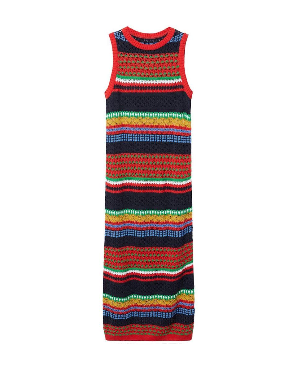 """<p>Mango knit cotton-blend dress – £35.99 </p><p><a class=""""link rapid-noclick-resp"""" href=""""https://go.redirectingat.com?id=127X1599956&url=https%3A%2F%2Fshop.mango.com%2Fgb%2Fwomen%2Fdresses-and-jumpsuits-midi%2Fknit-cotton-blend-dress_17081511.html&sref=https%3A%2F%2Fwww.elle.com%2Fuk%2Ffashion%2Fwhat-to-wear%2Farticles%2Fg31862%2Fthe-10-items-you-need-in-your-capsule-holiday-wardrobe%2F"""" rel=""""nofollow noopener"""" target=""""_blank"""" data-ylk=""""slk:SHOP NOW"""">SHOP NOW</a></p><p>Summer knitwear is the trend you need to know about. But before you envisage getting all hot and <a href=""""https://www.elle.com/uk/fashion/what-to-wear/a22069616/best-worst-fabrics-summer-sweat/"""" rel=""""nofollow noopener"""" target=""""_blank"""" data-ylk=""""slk:sweaty"""" class=""""link rapid-noclick-resp"""">sweaty</a> up in this stripey Mango maxi, we'll assure you it's crocheted from breathable cotton yarns for effective temperature regulation. Plus, it'll remain crease-free no matter how badly it's folded, and it's super comfy to wear when travelling. It's so practical, it'd be rude not to buy it.</p>"""