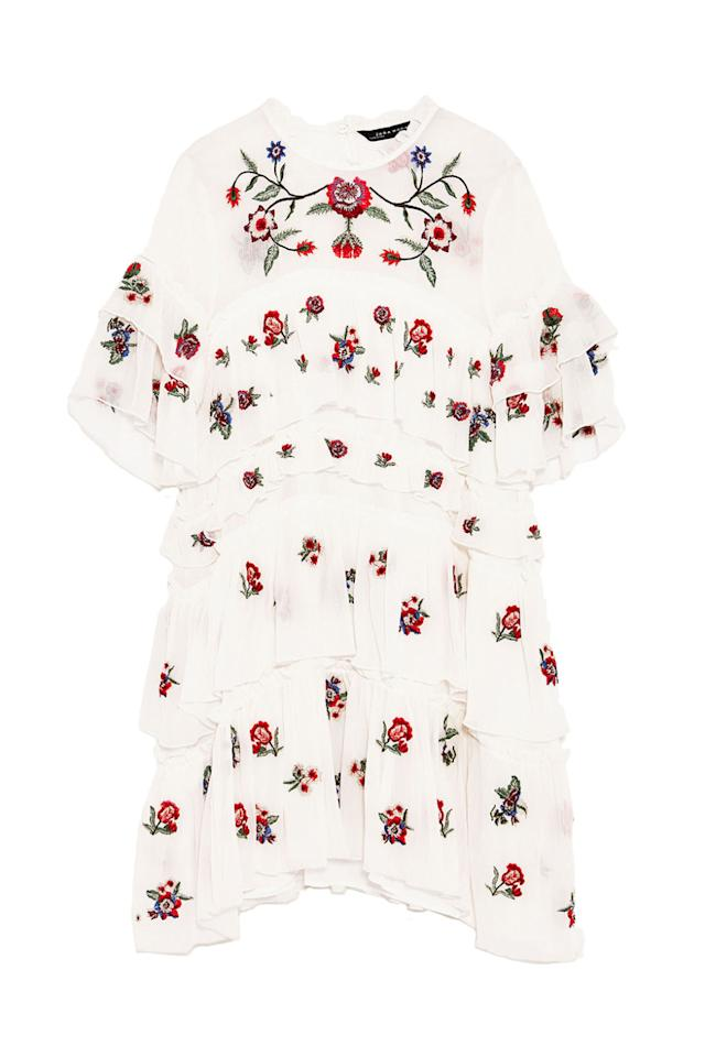 "<p>Exactly the whimsical dress you'll want to pack wherever you vacation (Europe, a tropical isle, what have you) this summer.<br></p><p><span></span><strong>Embroidered Mini Dress, $70; <a rel=""nofollow"" href=""https://www.zara.com/us/en/woman/dresses/embroidered-mini-dress-c358003p4594550.html""><span>zara.com</span></a></strong><strong>.</strong></p>"