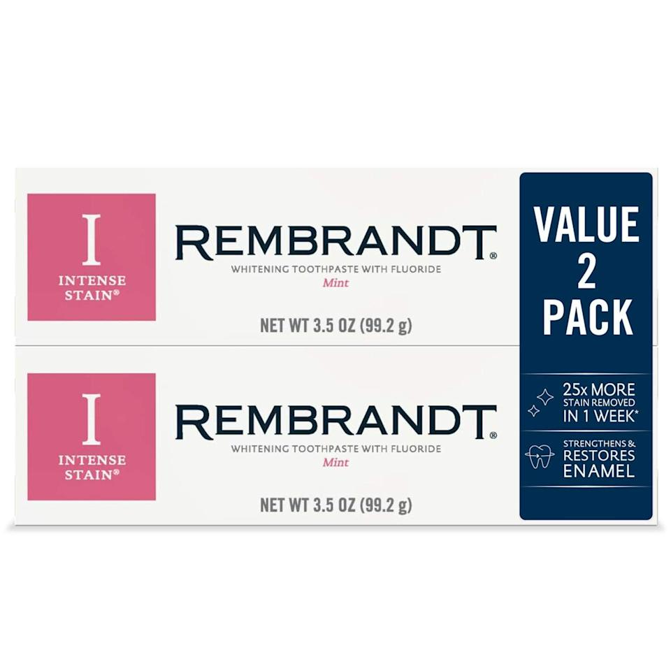 """<br><br><strong>Rembrandt</strong> Intense Stain Whitening Toothpaste, Mint Flavor, 3.5-Ou, $, available at <a href=""""https://amzn.to/2SO16Ri"""" rel=""""nofollow noopener"""" target=""""_blank"""" data-ylk=""""slk:Amazon"""" class=""""link rapid-noclick-resp"""">Amazon</a>"""