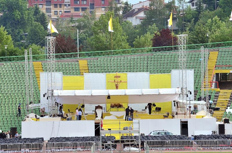 Sarajevo city stadium is seen on June 4, 2015, undergoing preparations for a mass to be held by Pope Francis during his visit to Bosnia (AFP Photo/Elvis Barukcic)