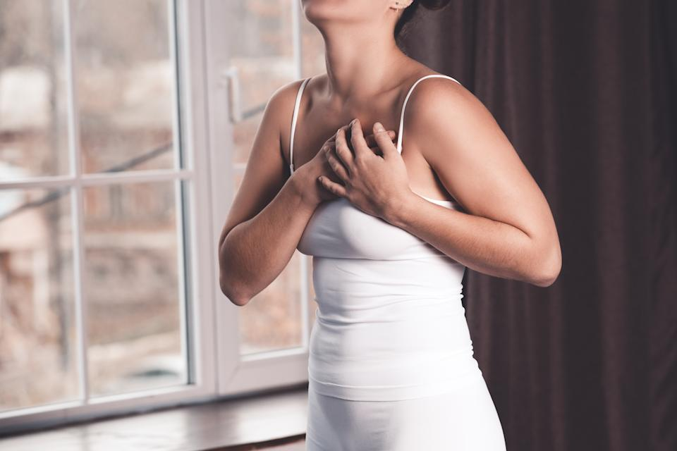 Lumps and thickening on the boobs is one of the main symptoms of breast cancer. (Getty Images)