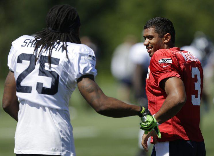 Richard Sherman said he has no issue with quarterback Russell Wilson. (AP)