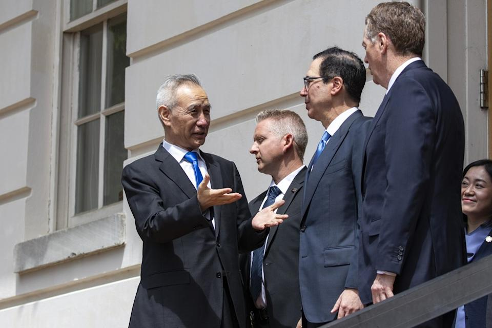 China's Vice-Premier Liu He with US trade representative Robert Lighthizer and U S Treasury secretary during the last round of talks in Washington in May. Photo: Bloomberg