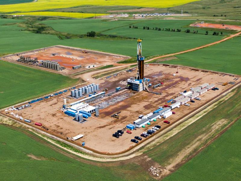 An oil drilling operation in the Bakken Formation near New Town, North Dakota, on 1 July.