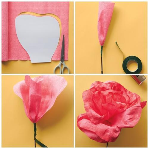 Dreamy crepe paper flowers print and cut out the small and large petal templates trace templates onto crepe paper and cut out with scissors you will need 5 small petals and 10 large mightylinksfo
