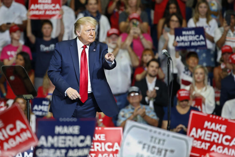 President Donald Trump after speaking during a campaign rally at the BOK Center, Saturday, June 20, 2020, in Tulsa, Oklahoma.