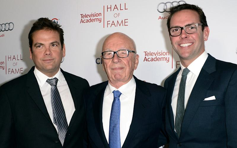Rupert Murdoch, pictured with sons Lachlan and James, has agreed to sell a vast swathe of his media empire for $66bn (£49.1bn)