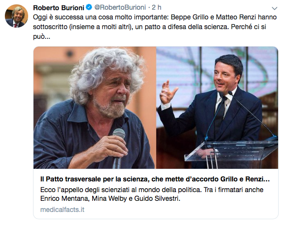 Il tweet di Burioni