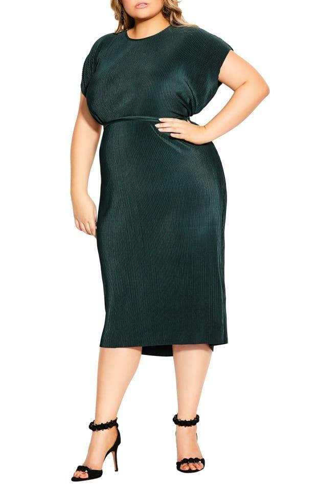 """<p>City Chic Pleated Midi Dress, $79-$89, <a href=""""https://rstyle.me/+xXiPzD3isjiUf8r26VWZFw"""" rel=""""nofollow noopener"""" target=""""_blank"""" data-ylk=""""slk:available here"""" class=""""link rapid-noclick-resp"""">available here</a> (sizes 14-26).</p>"""