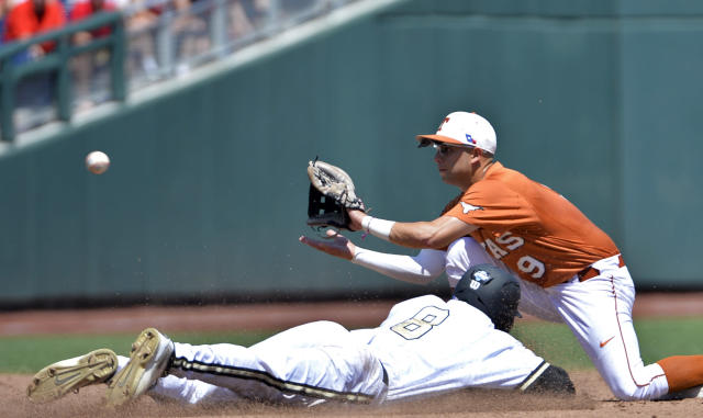 Vanderbilt's Rhett Wiseman (8) is caught stealing second base as Texas shortstop C.J Hinojosa (9) fields the throw in time during the second inning of an NCAA College World Series baseball game in Omaha, Neb., Friday, June 20, 2014. (AP Photo/Ted Kirk)