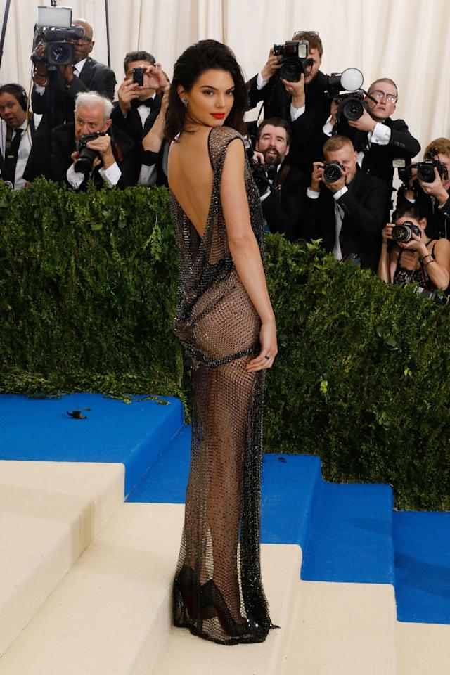 <p>Kendall Jenner certainly led the fash pack in the sheer trend at the 2017 Met Gala. The model even turned to lingerie powerhouse La Perla for an haute couture dress (which took over 160 hours to create).<br /><br />The gown was shipped to a total of five countries to be made and required 25 craftsmen to hand-paint 85,000 individual crystals. Now that it some serious commitment. <em>[Photo: Getty]</em> </p>