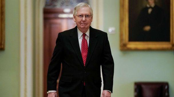 PHOTO: Senate Majority Leader Mitch McConnell arrives for the first day of the Senate impeachment trial of President Donald Trump on Capitol Hill in Washington, D.C., Jan. 21, 2020. (Joshua Roberts/Reuters)