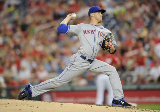 New York Mets starting pitcher Zack Wheeler delivers against the Washington Nationals during the second inning of a baseball game on Saturday, Aug. 31, 2013, in Washington. (AP Photo/Nick Wass)