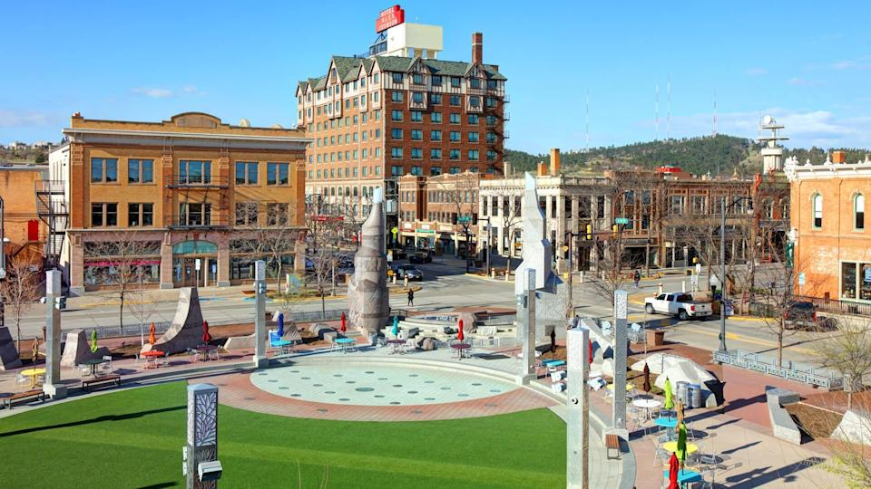 Rapid City, South Dakota, USA - May 3, 2019: Daytime view of Main Street Square in the Heart of Downtown Rapid City.