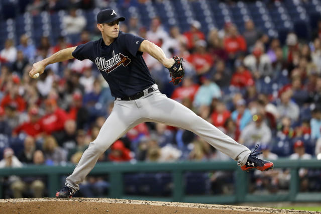 Atlanta Braves' Brandon McCarthy pitches during the second inning of a baseball game against the Philadelphia Phillies, Tuesday, May 22, 2018, in Philadelphia. (AP Photo/Matt Slocum)