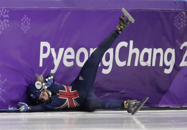 Elise Christie of Britain crashes during her women's 1500 meters short track speedskating semifinal in the Gangneung Ice Arena at the 2018 Winter Olympics in Gangneung, South Korea, Saturday, Feb. 17, 2018. (AP Photo/Julie Jacobson)