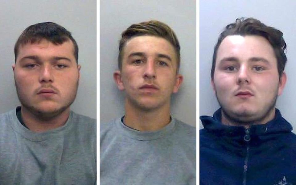 Left to right: Driver Henry Long, 19, who dragged Pc Andrew Harper to his death, who has been found not guilty at the Old Bailey of murder but had earlier pleaded guilty to manslaughter and his passengers Jessie Cole and Albert Bowers, both 18, who were cleared of murder but found guilty of manslaughter.