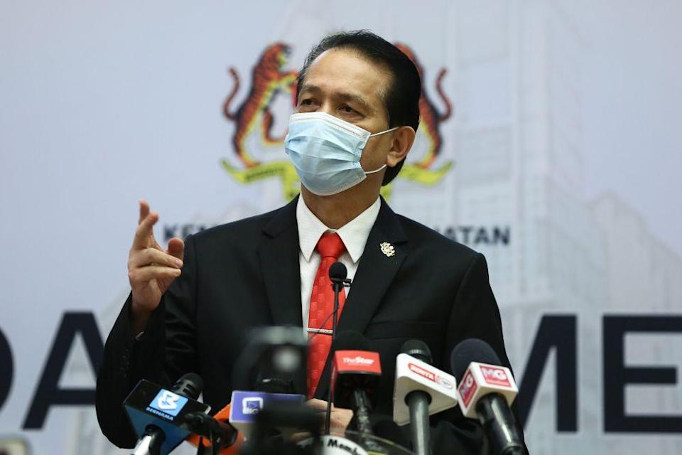 Health Director-General Tan Sri Dr Noor Hisham said that while Sabah was still the state with the highest number of new cases at 391, this was followed by Negri Sembilan at 371 cases. — Picture by Yusof Mat Isa