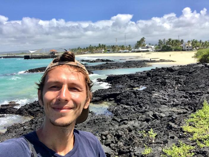Backpacker Ian Melvin who has found himself stranded on the idyllic Galapagos islands when the lockdown kicked in. (SWNS)