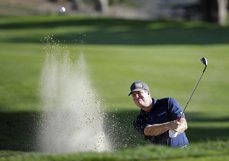 Steve Elkington, of Australia, hits the ball out of a bunker up to the 16th green of TPC Harding Park during the second round of the Charles Schwab Cup Championship Champions Tour golf tournament Friday, Nov. 1, 2013, in San Francisco