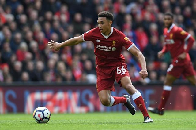 Rising star: Trent Alexander-Arnold is hoping to get the better of Cristiano Ronaldo in Saturday's Champions League final (AFP Photo/Paul ELLIS)