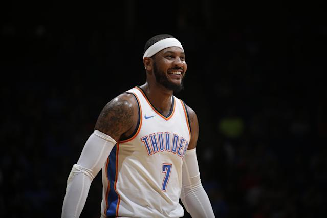"<a class=""link rapid-noclick-resp"" href=""/nba/players/3706/"" data-ylk=""slk:Carmelo Anthony"">Carmelo Anthony</a> is happy to be with the Thunder. (Getty)"