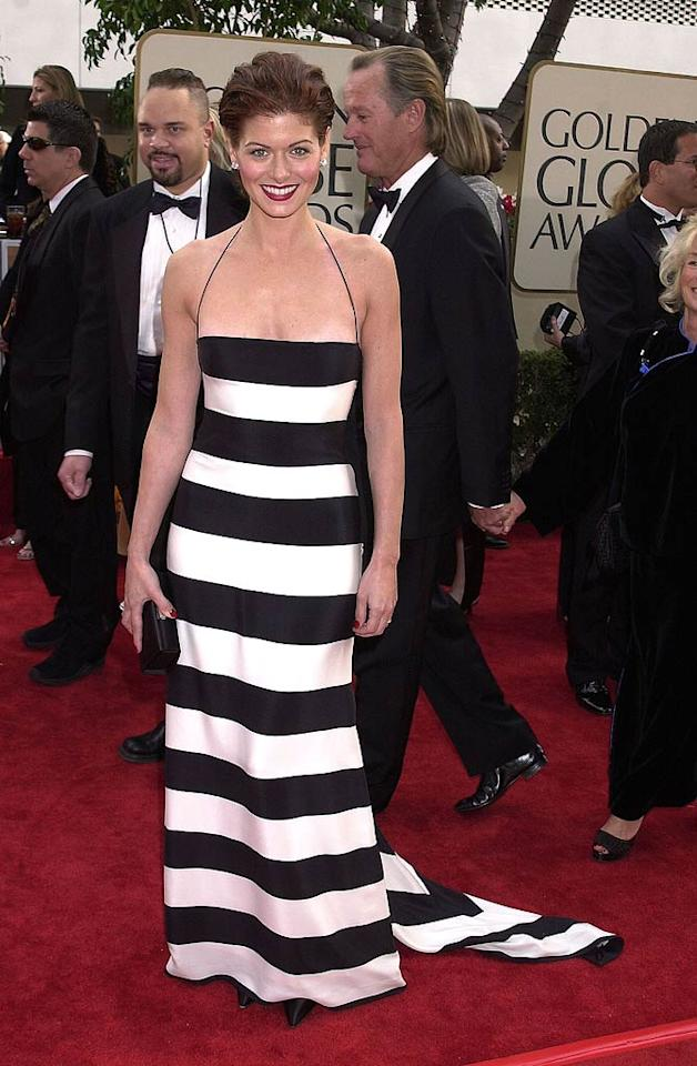 "Most of us can't pull of a striped shirt, let alone a white and black striped gown. But Debra Messing did just that at the 2001 Golden Globe Awards. Gregg DeGuire/<a href=""http://www.wireimage.com"" target=""new"">WireImage.com</a> - January 21, 2001"