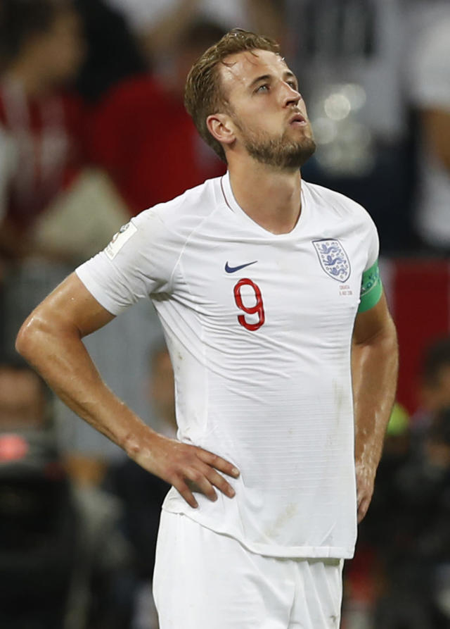 England's Harry Kane reacts after the semifinal match between Croatia and England at the 2018 soccer World Cup in the Luzhniki Stadium in Moscow, Russia, Wednesday, July 11, 2018. (AP Photo/Francisco Seco)