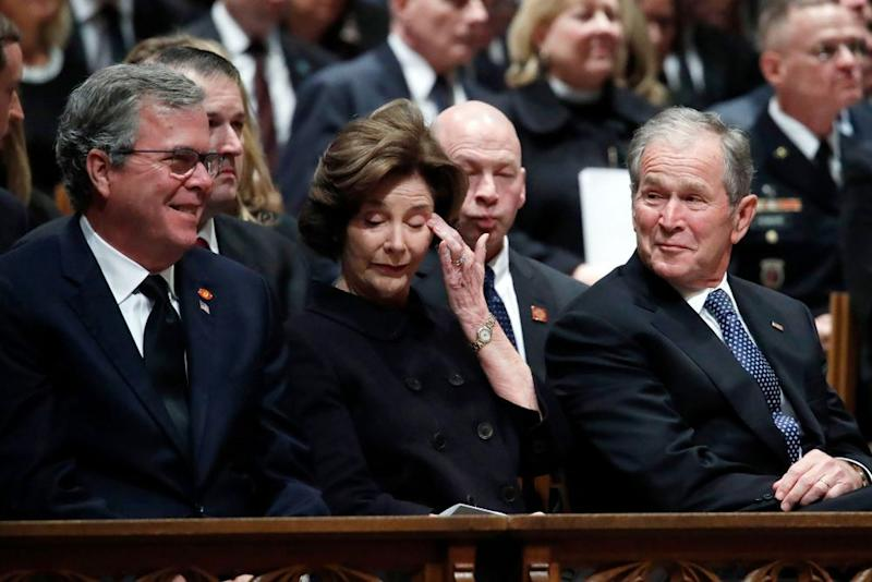 Jeb, Laura and George W. Bush