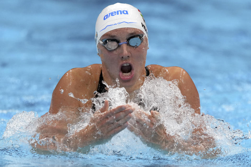 Katinka Hosszu of Hungary swims in a heat during the women's 200-meter individual medley at the 2020 Summer Olympics, Monday, July 26, 2021, in Tokyo, Japan. (AP Photo/Matthias Schrader)