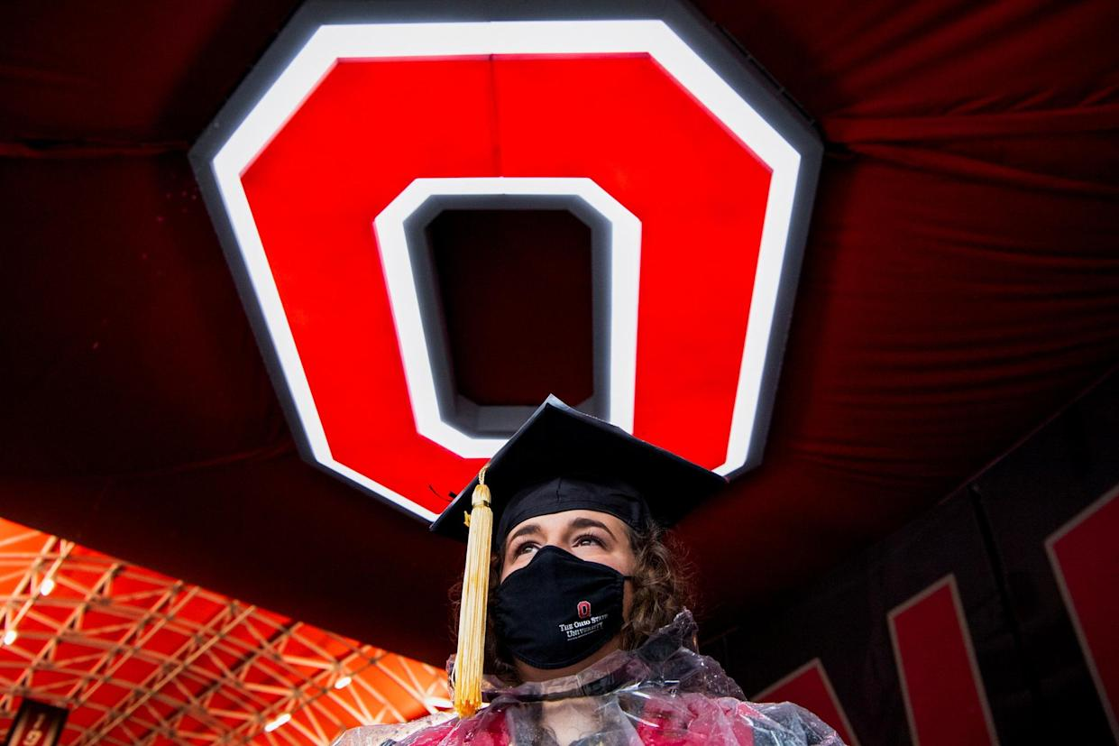 Ohio's Gov. Mike DeWine announced on Wednesday that the state will offer several full, four-year college scholarships to young people who get vaccinated, for any of its state universitities. Here, graduate is seen inside Ohio Stadium at Ohio State University on May 9. (Photo: REUTERS/Gaelen Morse)