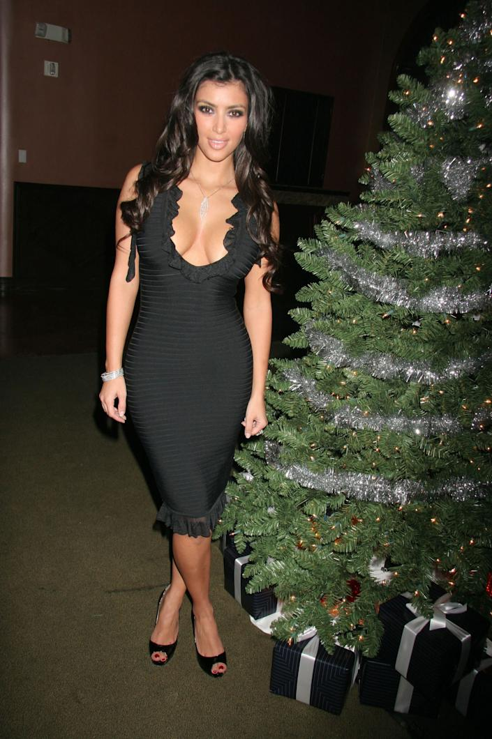 Kim Kardashian during Player Magazine Presents ''Player's Guide to the Holidays'' Hosted by Kim Kardashian at Sideways Supper Club in Los Angeles, California, United States. (Photo by Enos Solomon/FilmMagic)