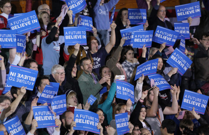 <p>Supporters of Democratic presidential candidate Bernie Sanders cheer at his rally in Concord, N.H., as CNN projects a win for Sanders on Feb. 9, 2016. (Rick Wilking/Reuters)</p>