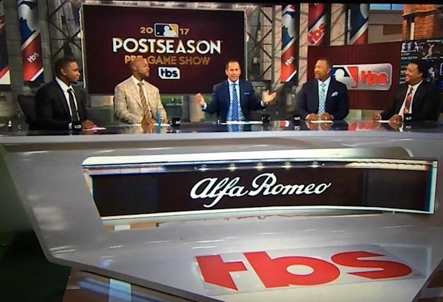 TBS studio Casey Stern is flanked by (left to right) Ryan Howard, Jimmy Rollins, Gary Sheffield and Pedro Martinez. (TBS)