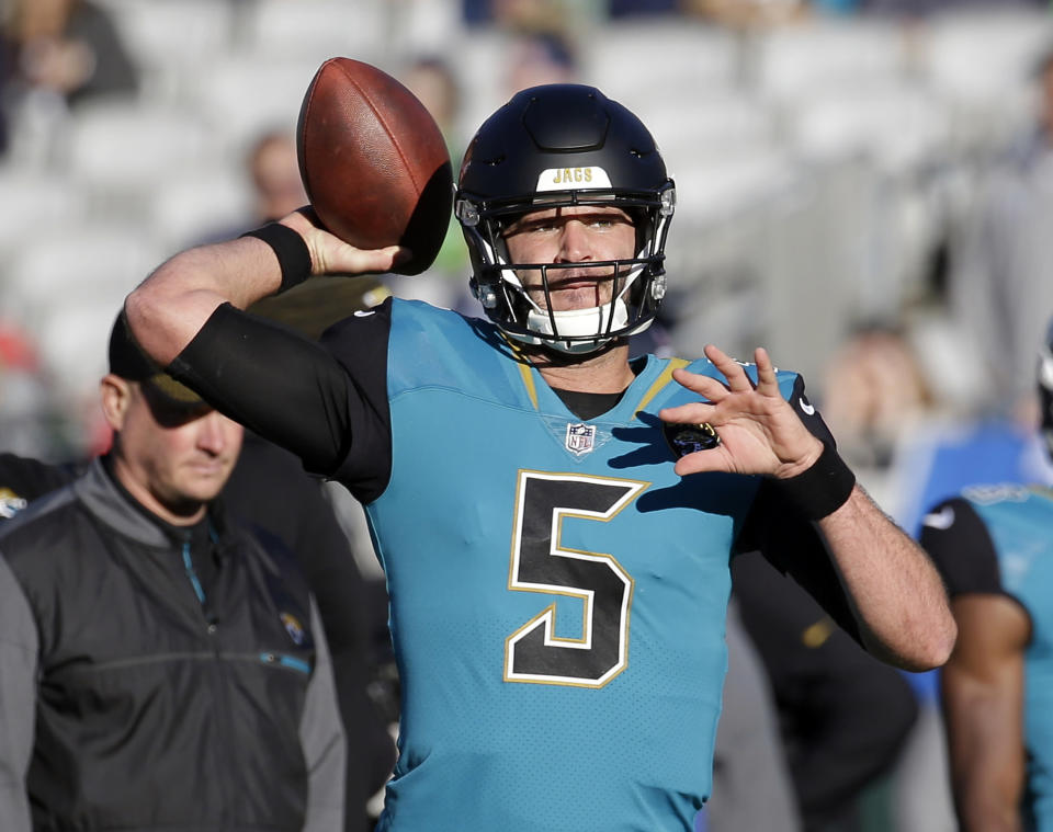 Do you trust this man to lead your fantasy team to a title? Well, you may not have much of a choice. Blake Bortles has a pair of friendly matchups ahead. (AP Photo/John Raoux)