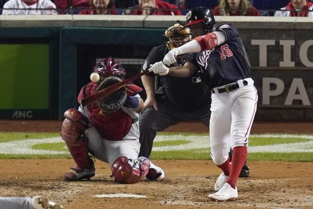Washington Nationals' Victor Robles hits a home run during the sixth inning of Game 3 of the baseball National League Championship Series against the St. Louis Cardinals Monday, Oct. 14, 2019, in Washington. (AP Photo/Alex Brandon)