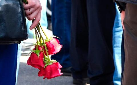 <span>People gather for the funerals of five Russian nuclear engineers killed by a rocket explosion in Sarov</span> <span>Credit: Russian State Atomic Energy Corporation ROSATOM via AP </span>