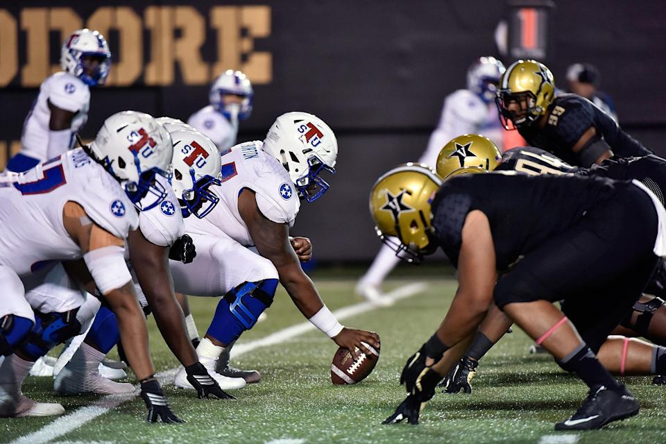 Tennessee State plays against Vanderbilt during the second half at Vanderbilt Stadium on October 22, 2016 in Nashville, Tennessee. (Photo by Frederick Breedon/Getty Images)