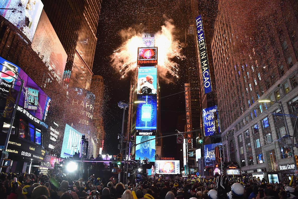 A view of Times Square on December 31, 2017. (Photo: Kevin Mazur via Getty Images)